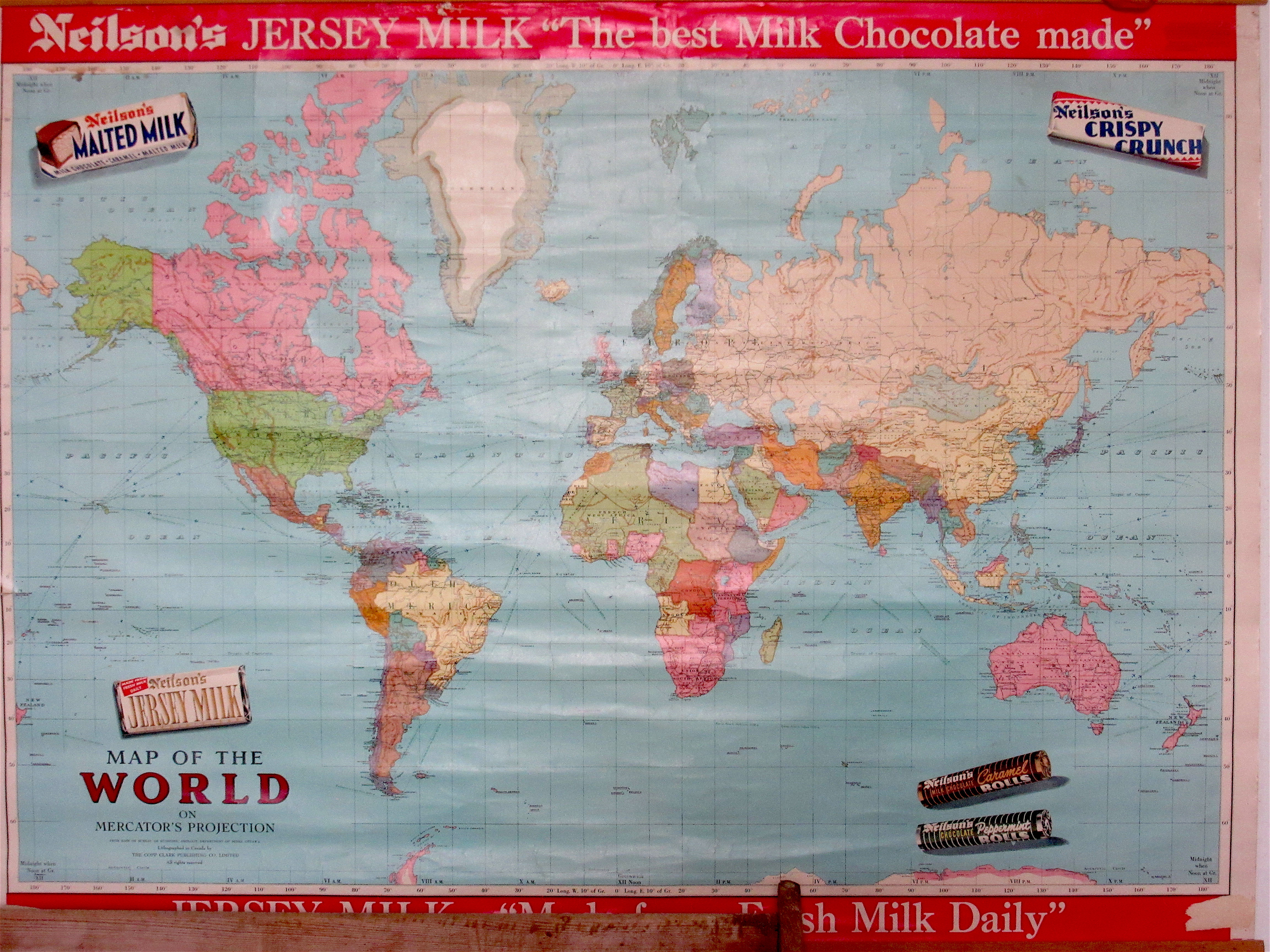 Map Of Canada On World Map.Looking Back School Maps And Chocolate Bars